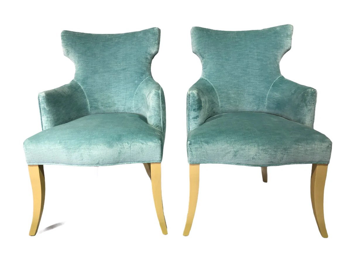 Pair Of Vintage Tiffany Blue Velvet Chairs Kofski Antiques