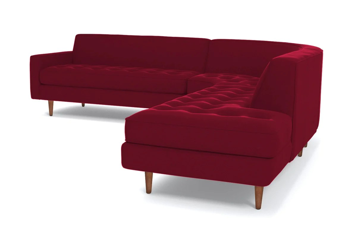 Made Sofa Velvet Monroe 3pc Sectional Sofa Leg Finish Pecan Configuration Raf Chaise On The Right