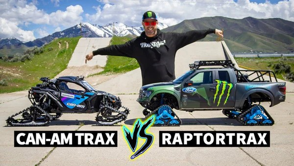 Pullover Vs Pullover Ken Block Drag Races His Tracked Can Am Maverick Vs The