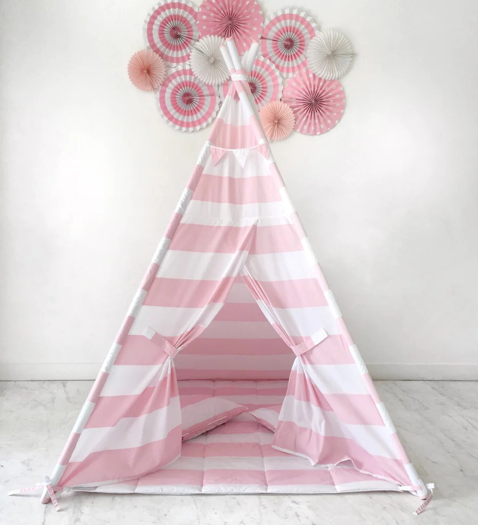 Kids Play Tent Kids Play Tent Handmade In Pink And White Stripe Cotton Fabric