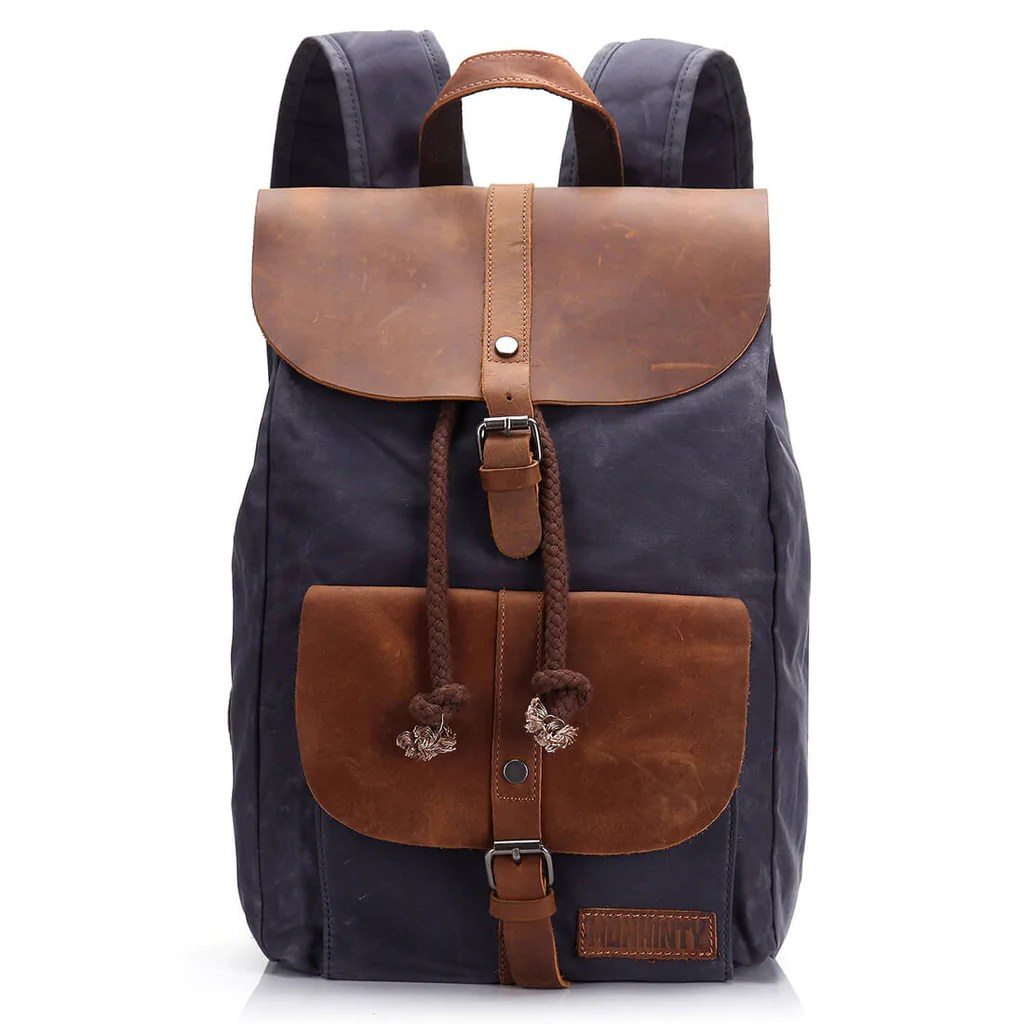 Travel Rucksack Waxed Canvas Leather Laptop Backpack 15 6 Inch Travel Rucksack Campus School Computer Bag Grey
