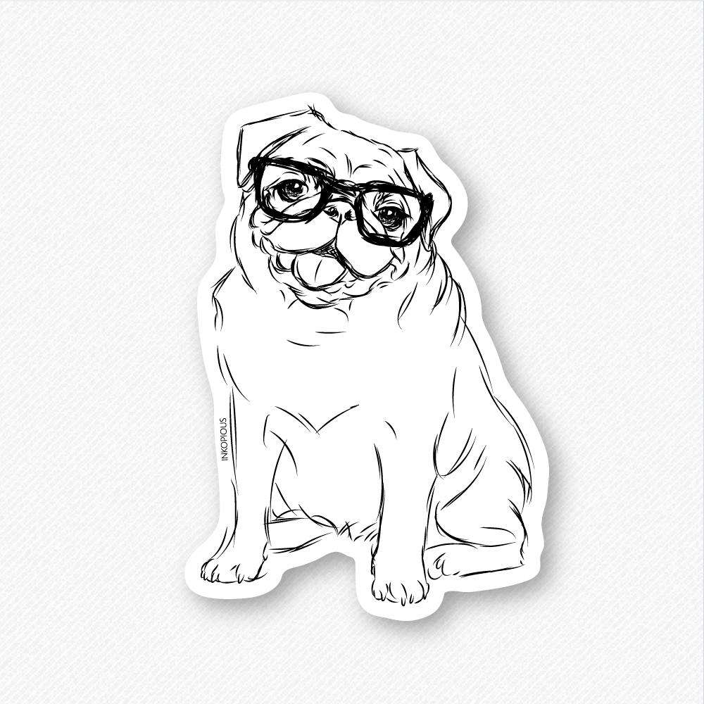 Stickers Bordeaux Higgins The Nerd Pug Decal Sticker