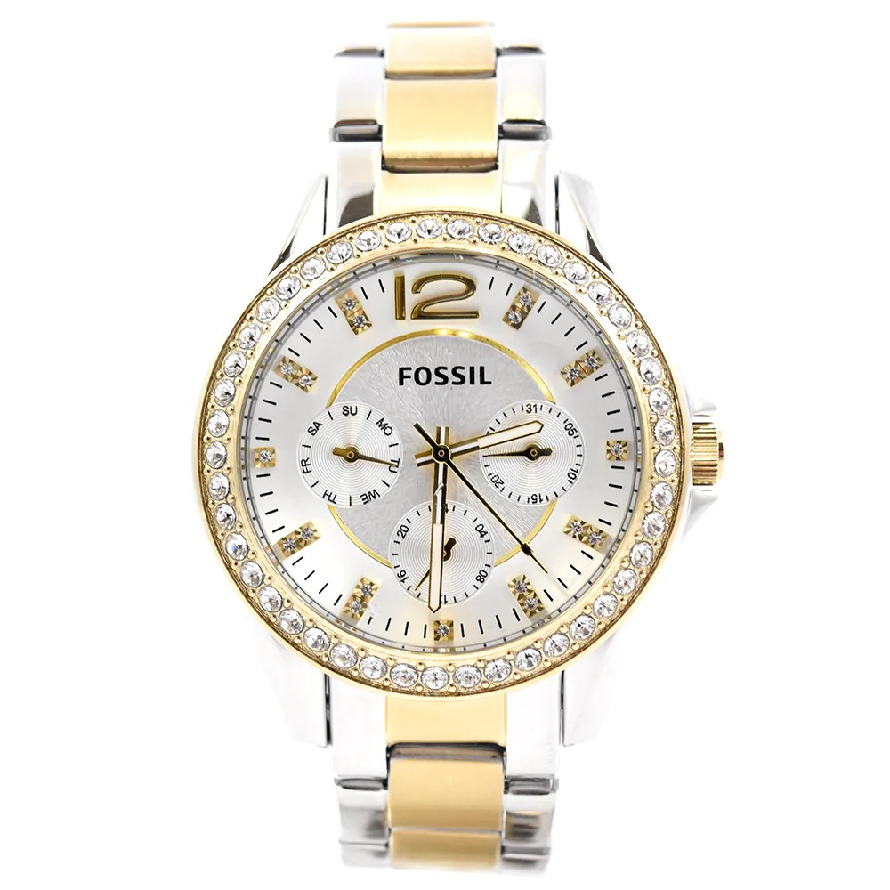 Fossil Riley Fossil Riley Es3204 Multi Function Two Tone Women S Watch