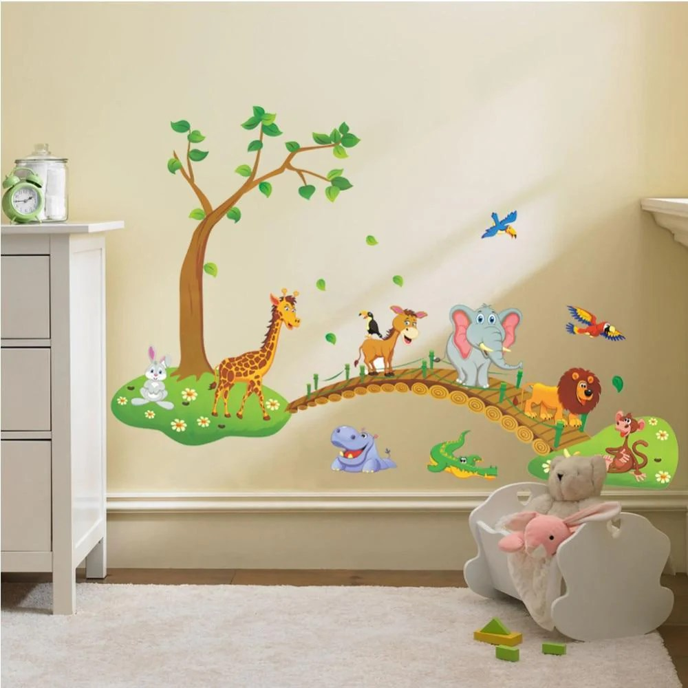 Muurstickers Dieren 3d Cartoon Wilde Dieren Stickers Jungle Muursticker Decal