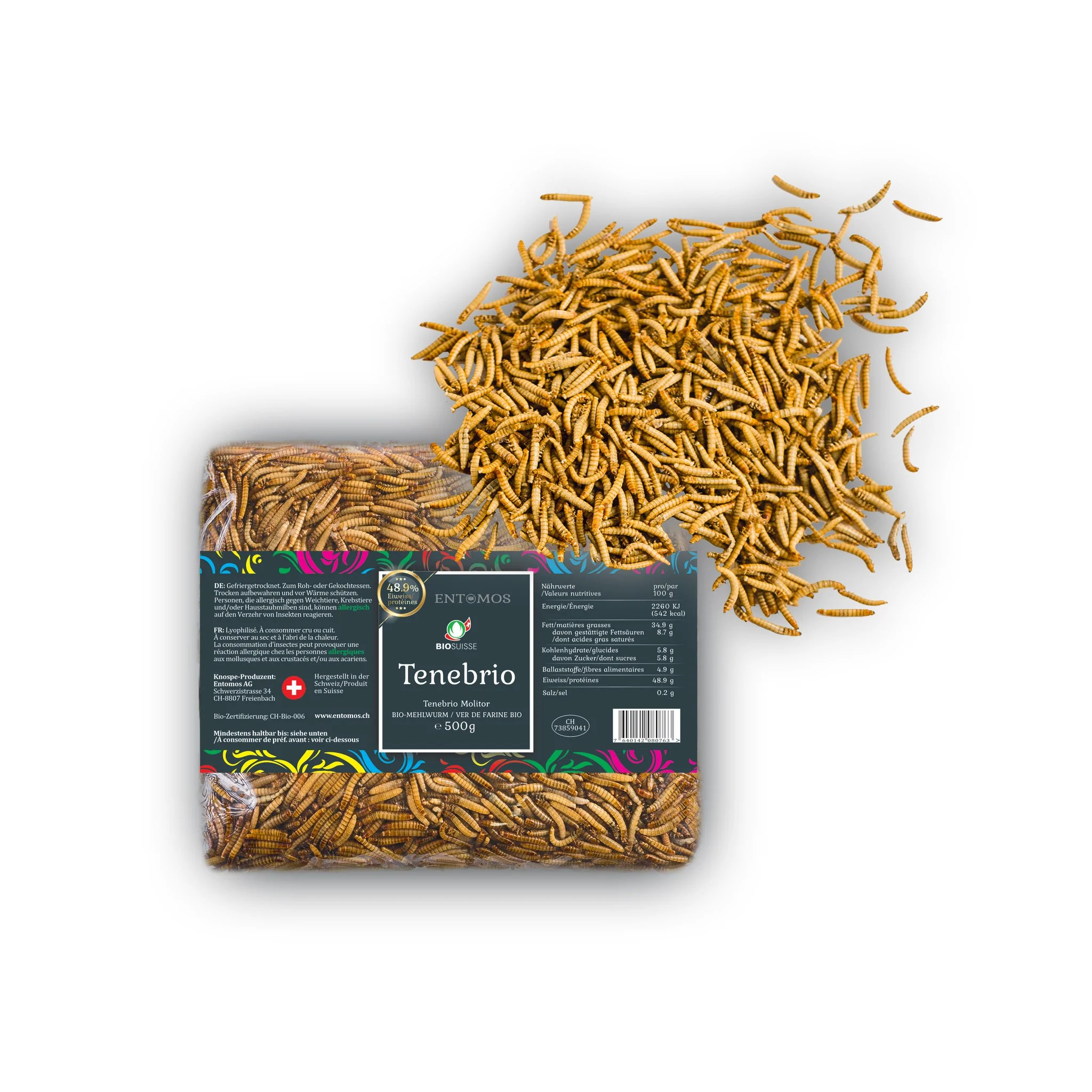 Hausstaubmilben Organic Edible Mealworms Lyophilized Tenebrio Molitor Swiss Production