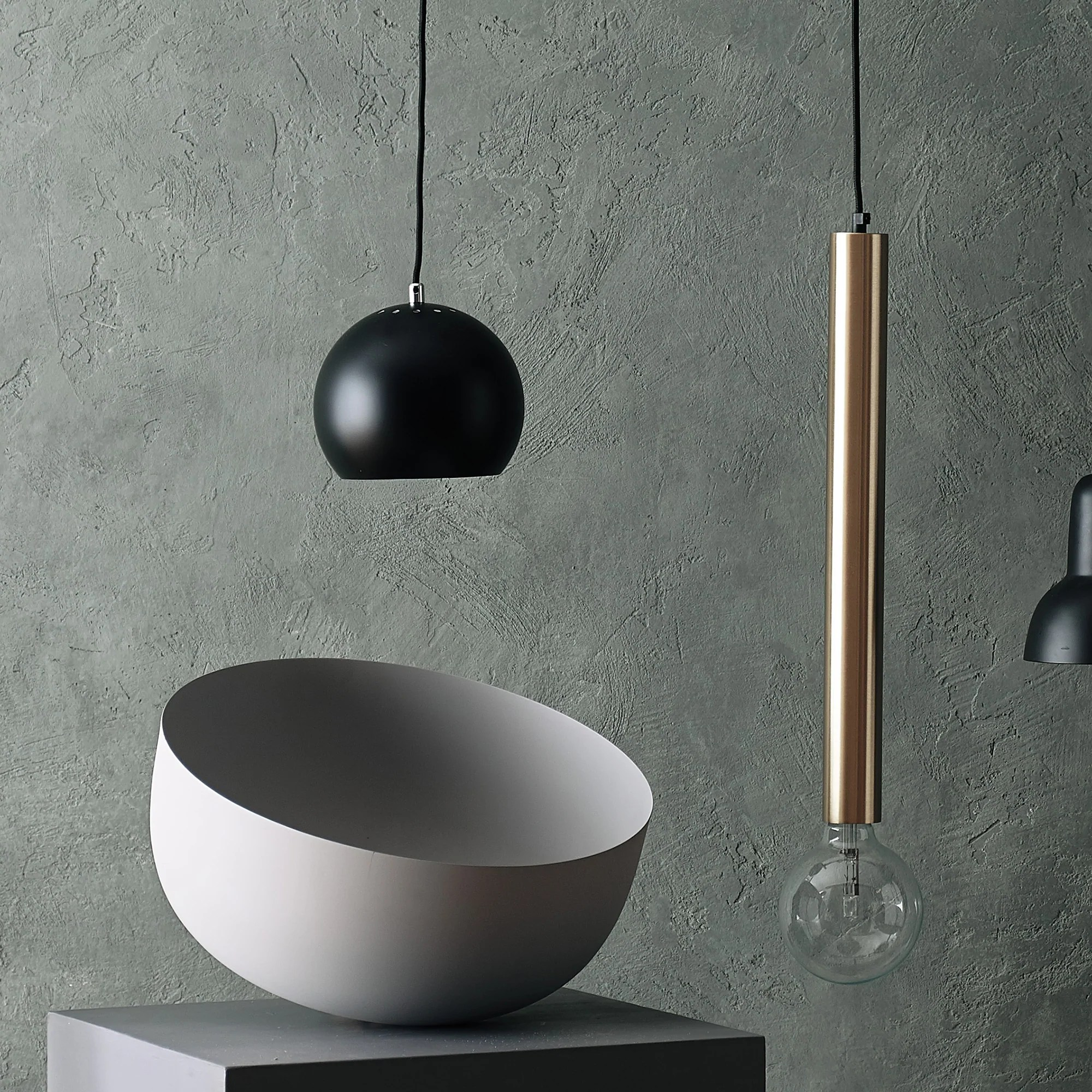 Lampe Ball Koge Ball Pendant Lamp Black With Black Cord Urbanara
