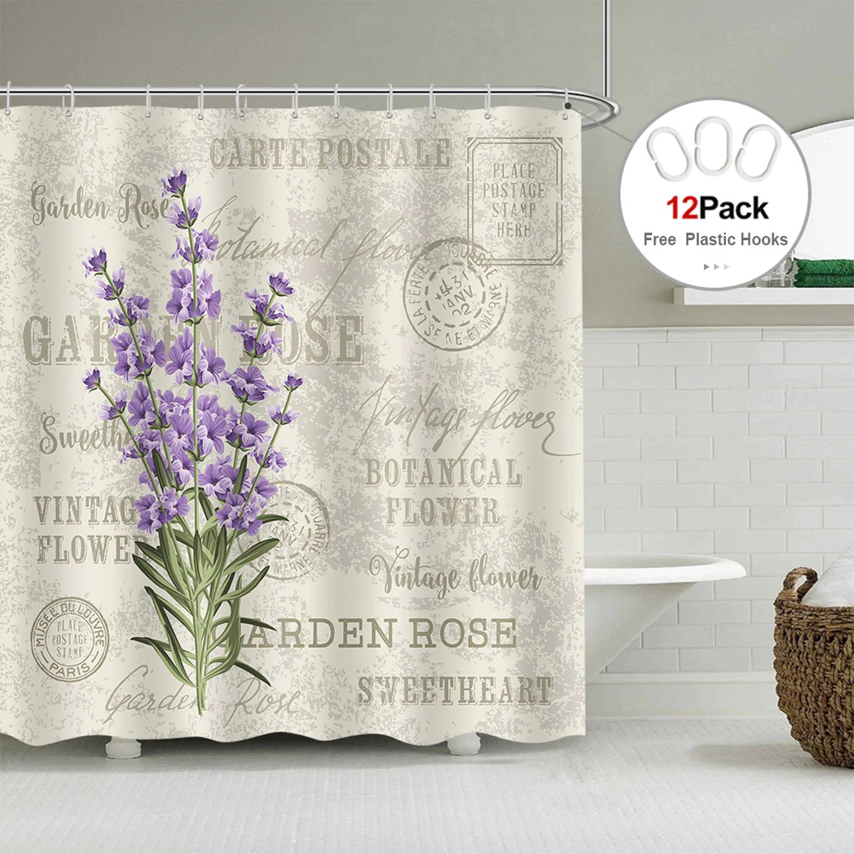 Lavender Shower Curtains Riyidecor Lavender Vintage Postcard Shower Curtain Weighted Hem Flowers Stall Floral Grunge Herbs Leaves Purple Beige Decor Fabric Set Polyester