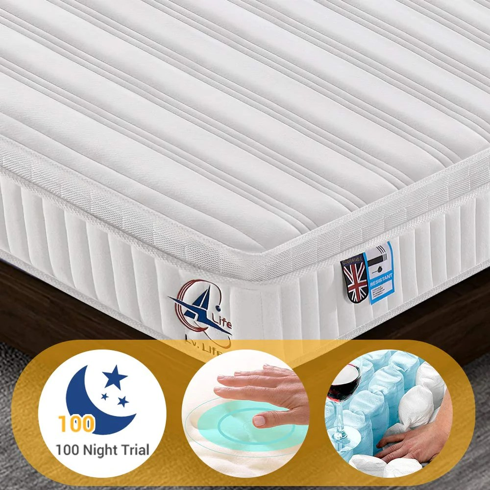 Single Pocket Sprung Memory Foam Mattress Ailiving Small Single Mattress Nine Zone Pocket Sprung Mattress 2ft6 Double Memory Foam Mattress With 3d Breathable Fabric