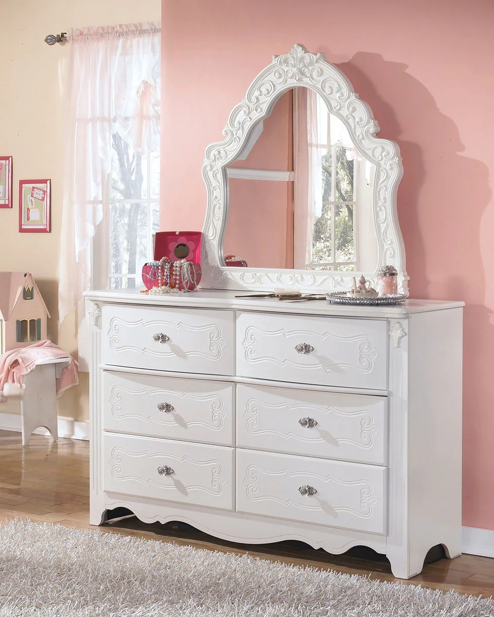 Exquisite White French Style Bedroom Mirror Mega Furniture Usa