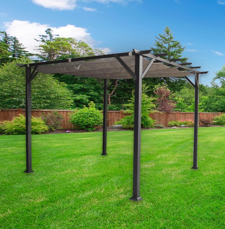 Toit Pergola F Corriveau International Pergola Vienna 10 X10 Avec Toit Retractable Charcoal