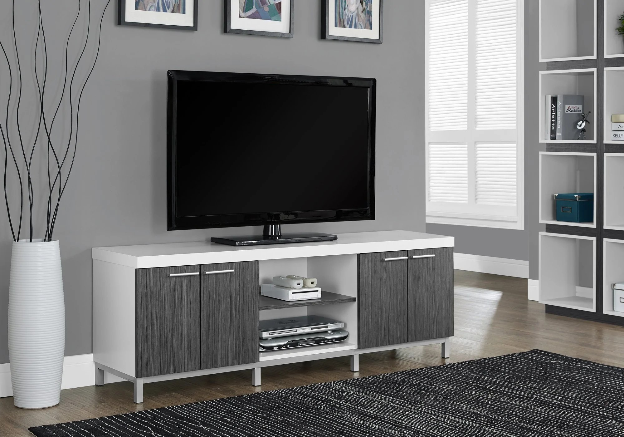 Meuble Tv Blanc Gris Monarch Specialties I 2591 Meuble Tv 60