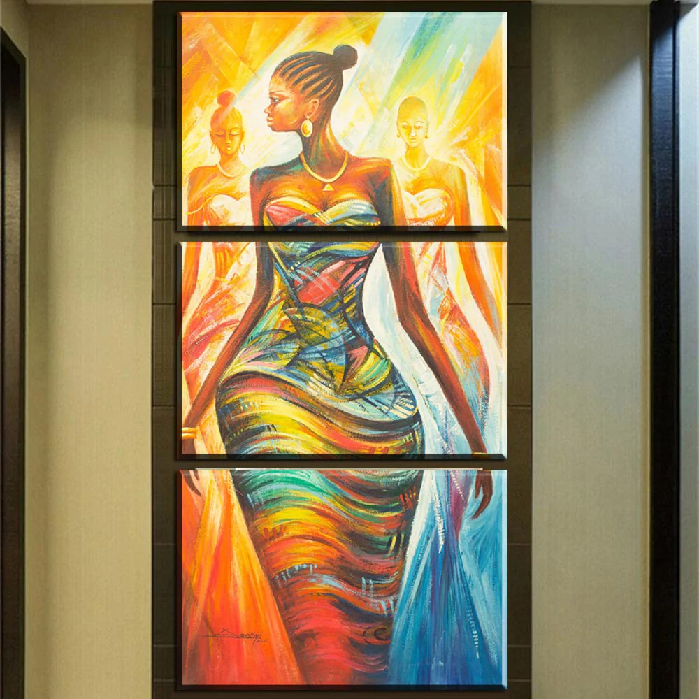 Modern Art Painting Wall Art 3 Pieces Abstract Modern African Portrait Canvas Oil Painting