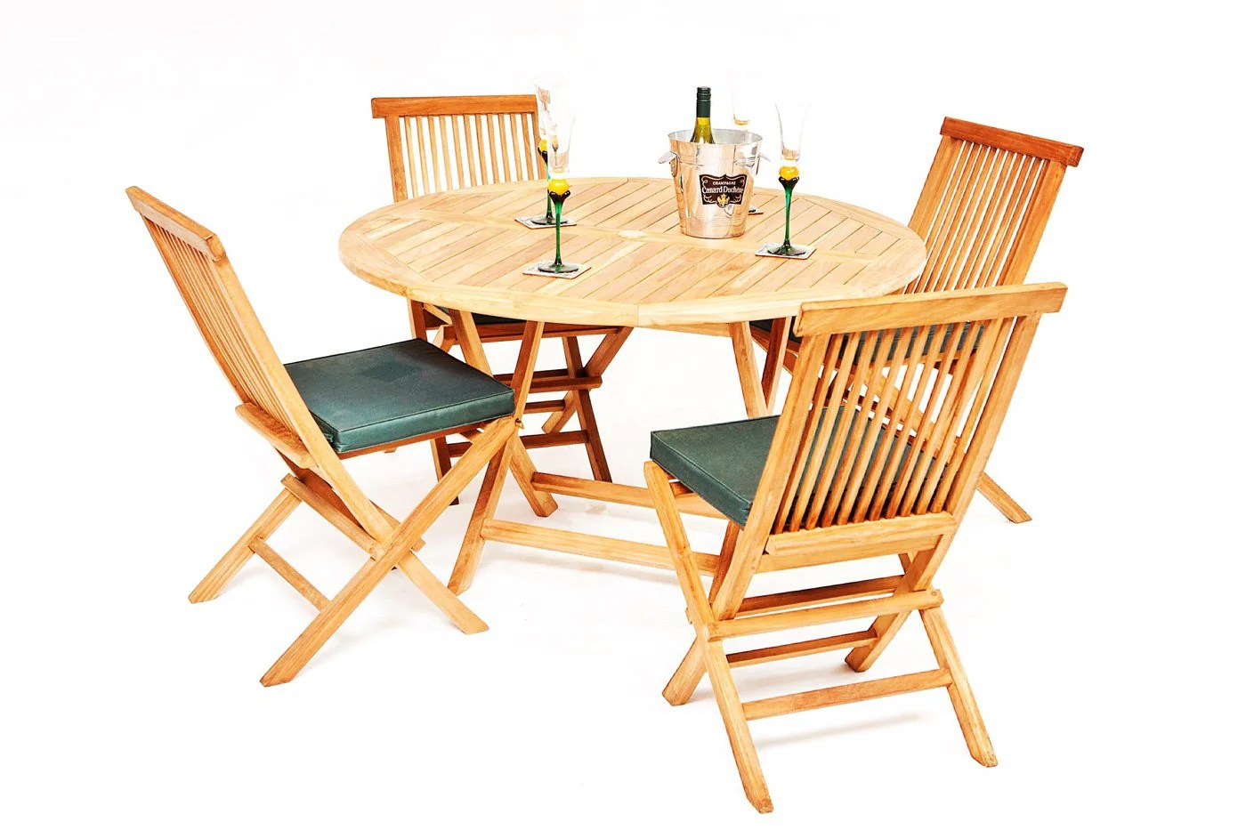 The Pocklington 4 Seater Teak Garden Table Chairs Set