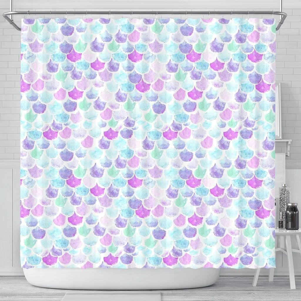 Mermaid Scale Shower Curtain Pastel Mermaid Scales Shower Curtain