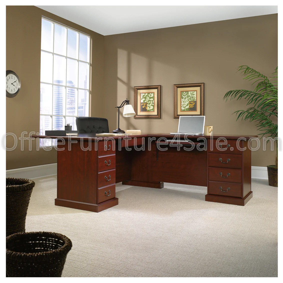 Executive L Shaped Desk Sauder Heritage Hill Outlet Executive L Shape Desk 29 3 4 H X 70 1 2 W X 83 D Classic Cherry