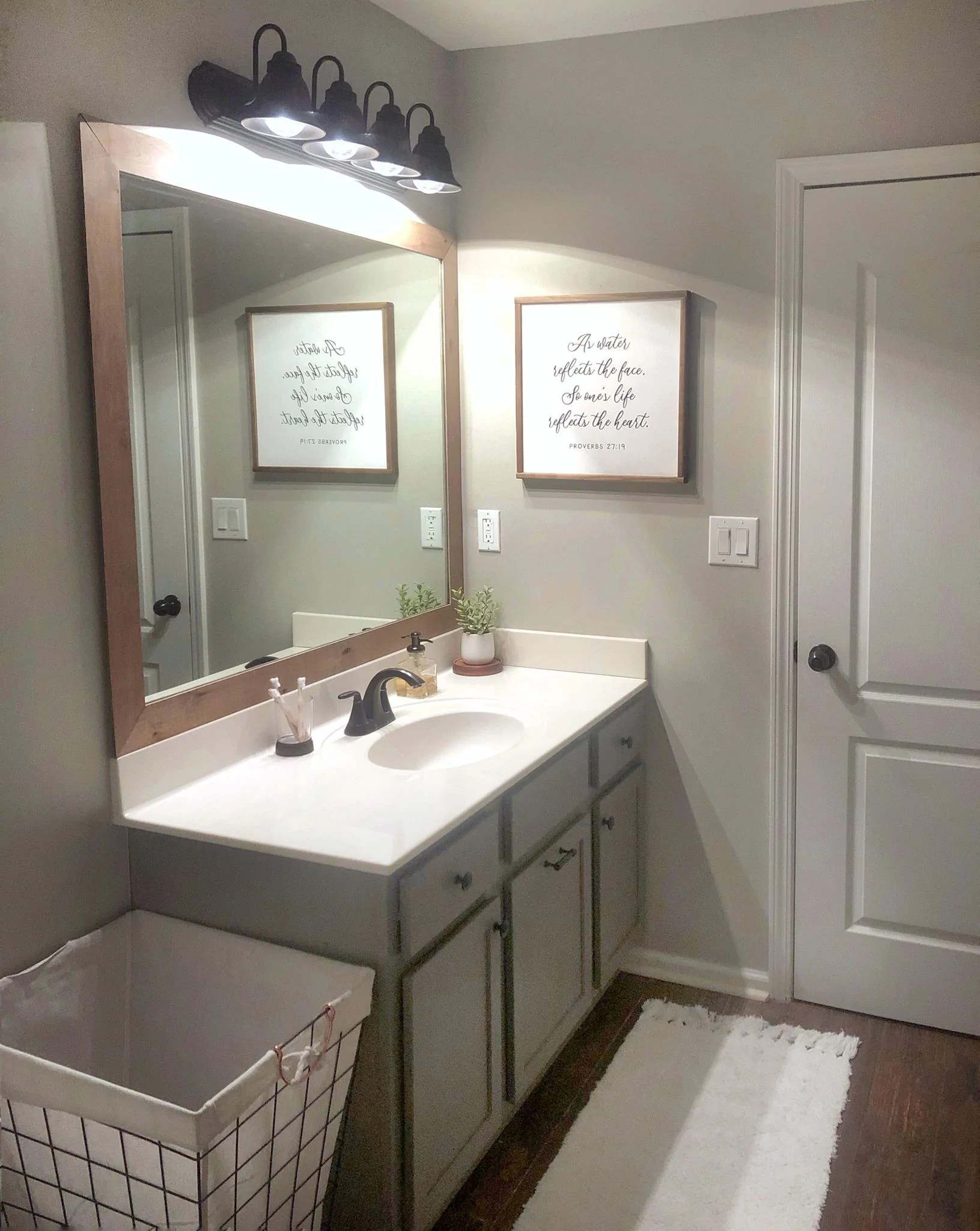 A Cheap Easy Way To Update A Builder Grade Mirror Diy By Ellison Made