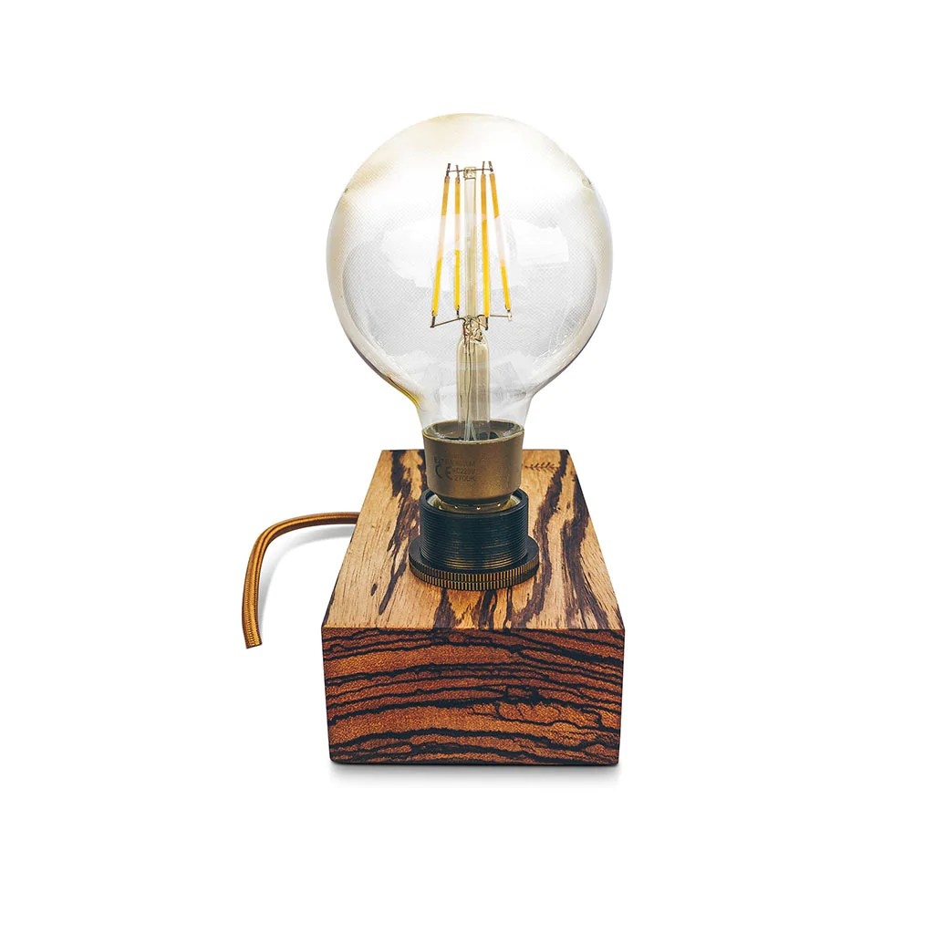 Industrial Edison Lamp Aus Zebrano Holz Mit Smart Home Integration Timbertraces