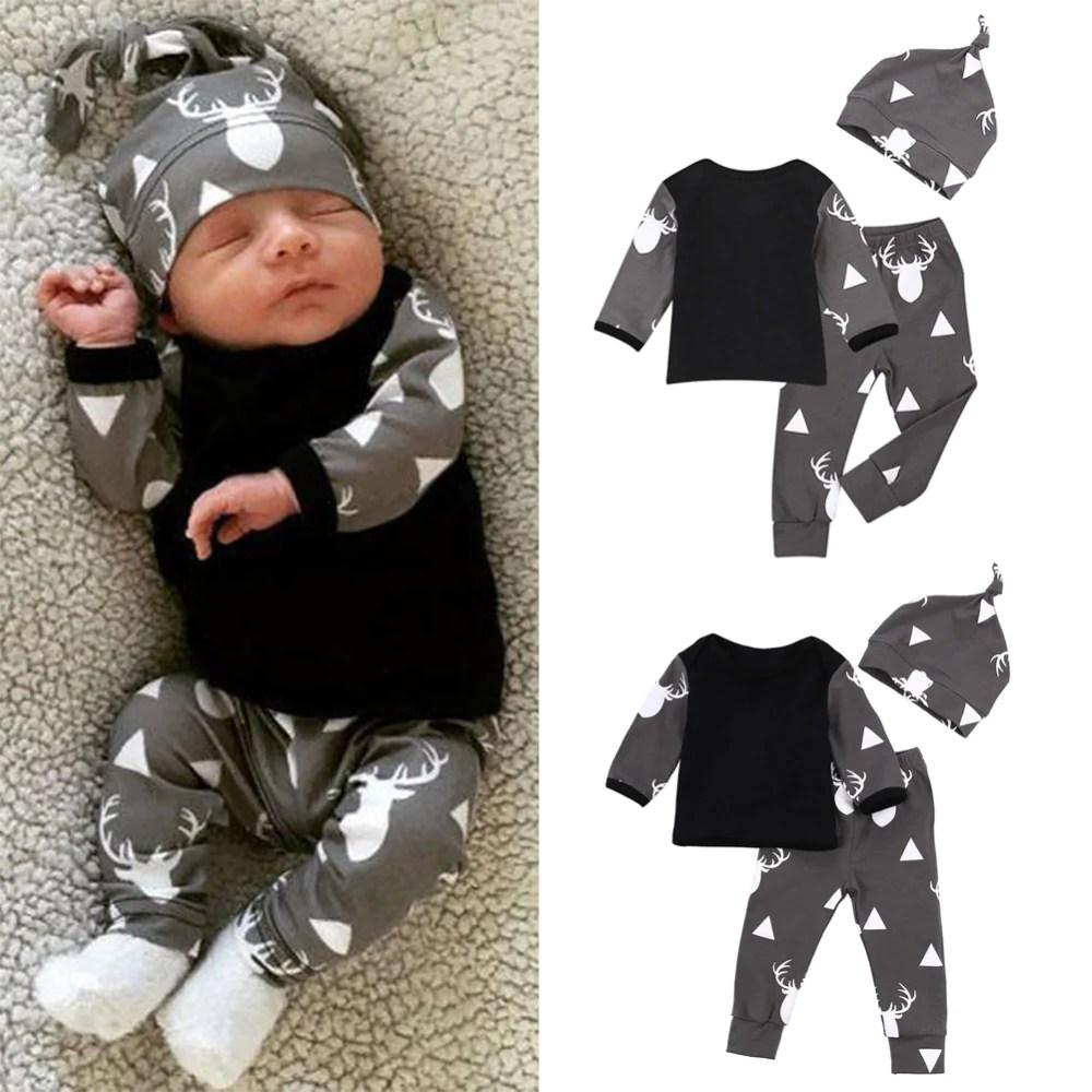 Newborn Infant Outfits Newborn Baby Girl Boy Clothes Deer Tops T Shirt Pants Leggings 3pcs Infant Outfits Set
