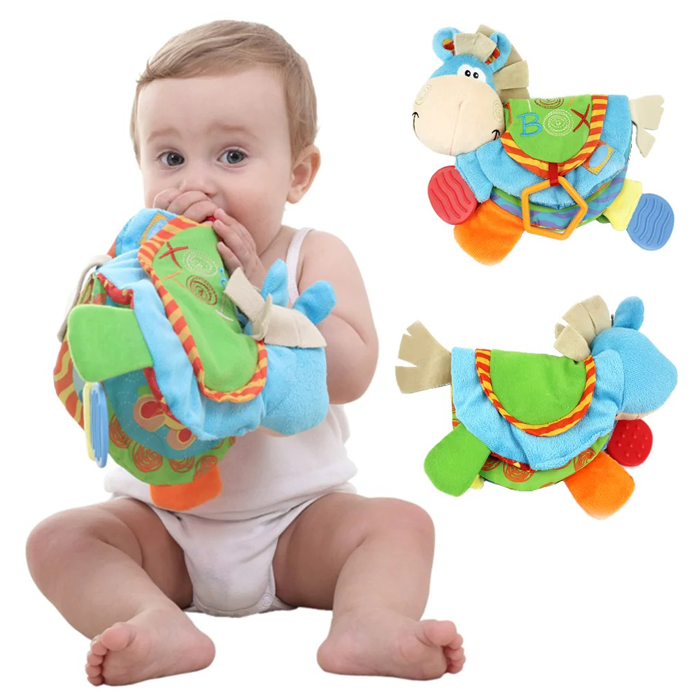 Holzspielzeug Baby Baby Rattles Teether Toys Cute Donkey Cloth Book For Toddlers Newborn Learning Early Education Toy Spielzeug Livro Infantil