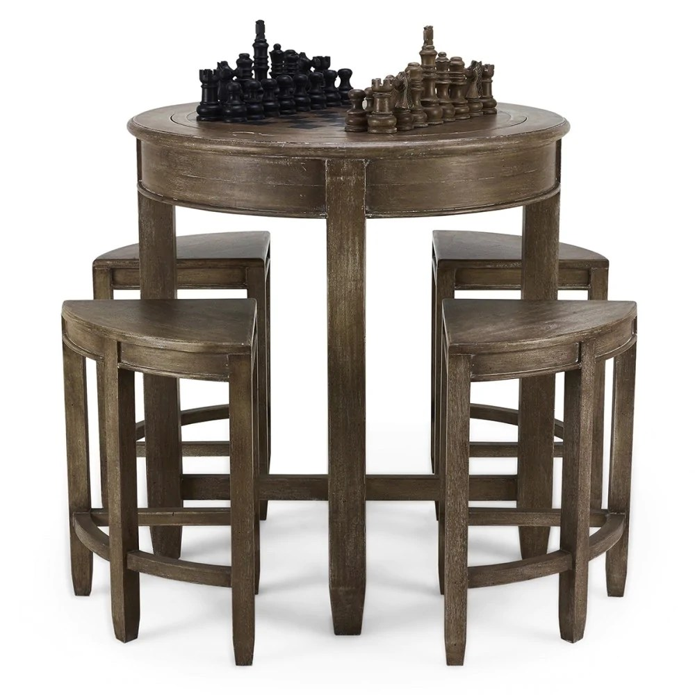 Chess Table Pub Chess Table With 4 Stools Bramble Company Steel Roots Home Decor