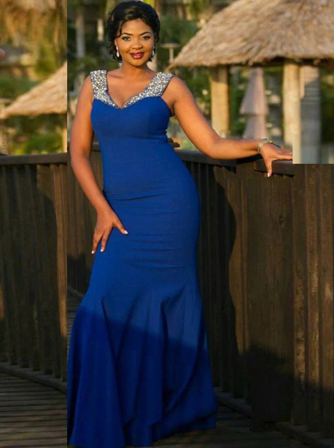 My Junior Prom Royal Blue Plus Size Prom Dress Fit And Flare Plus Size