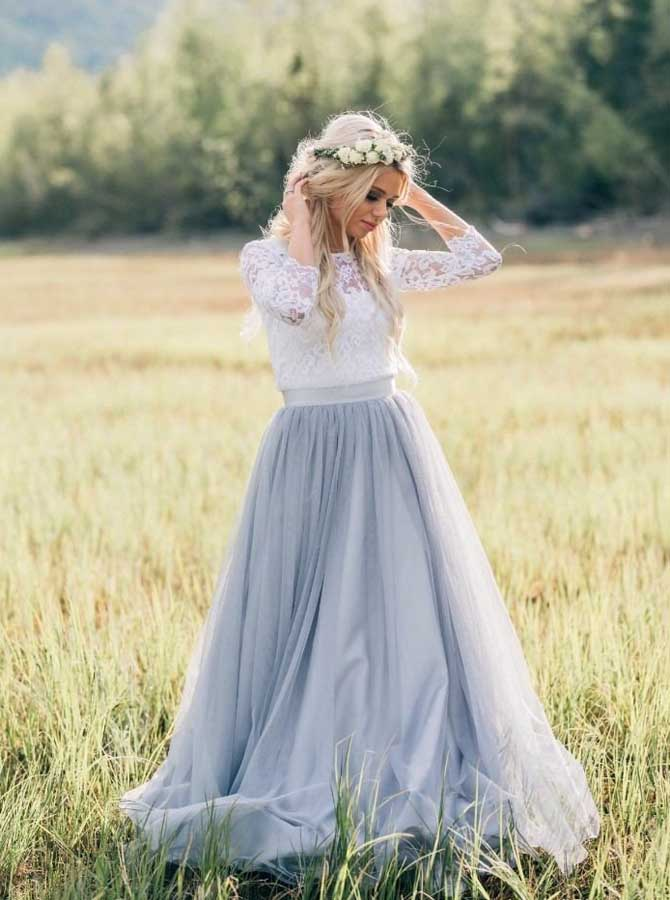 My Junior Prom Rustic Wedding Dresses With Sleeves Dusty Blue Wedding