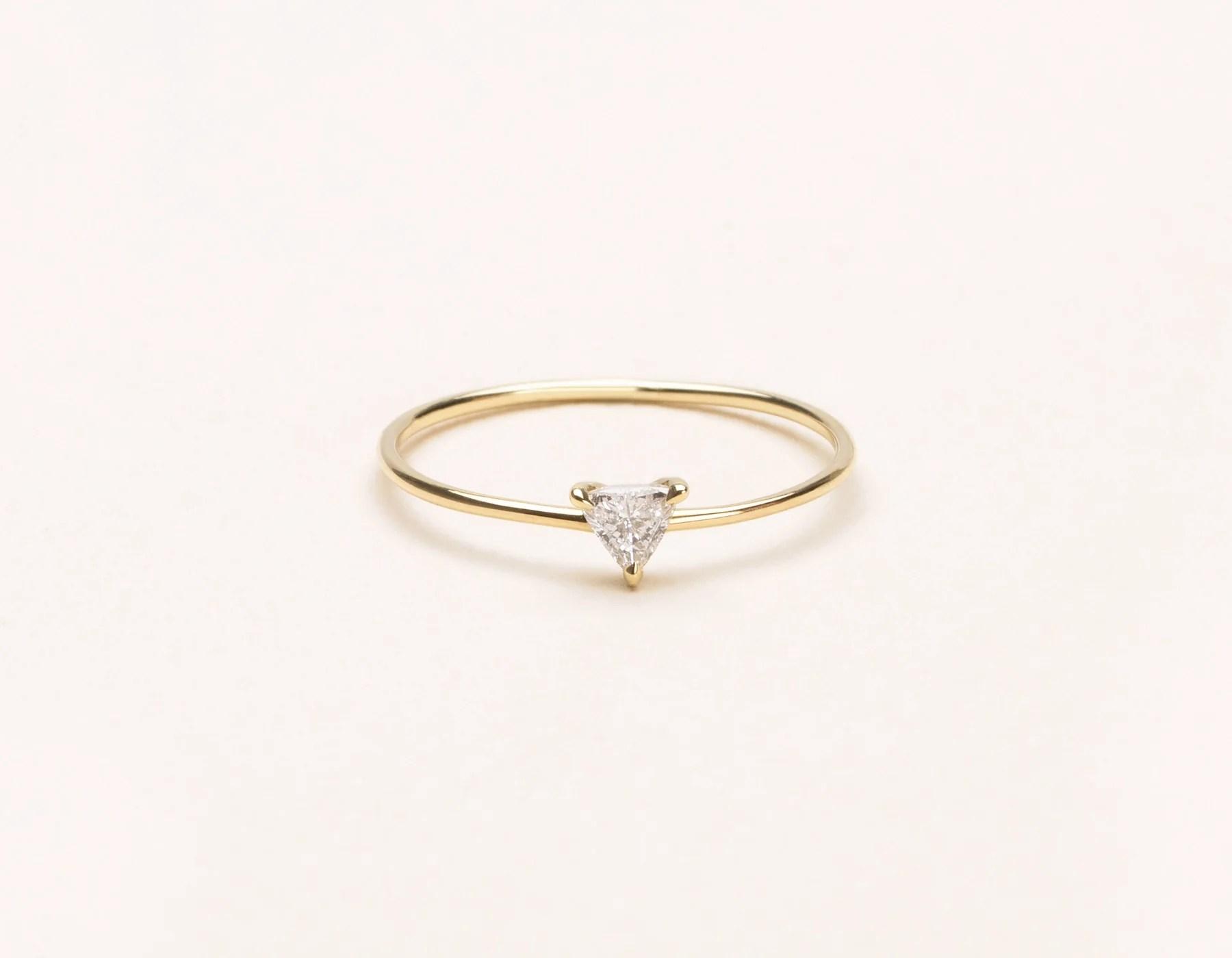 14k Trillion Diamond Ring Vrai Oro