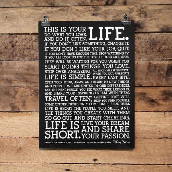 Holstee Manifesto The holstee Manifesto Black Poster | holstee