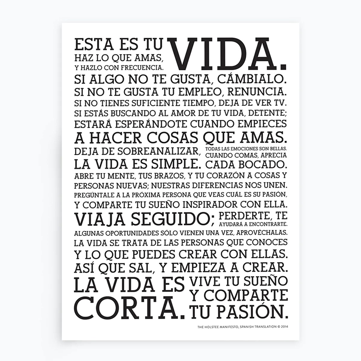 Poster In Spanish Holstee Manifesto Spanish Poster