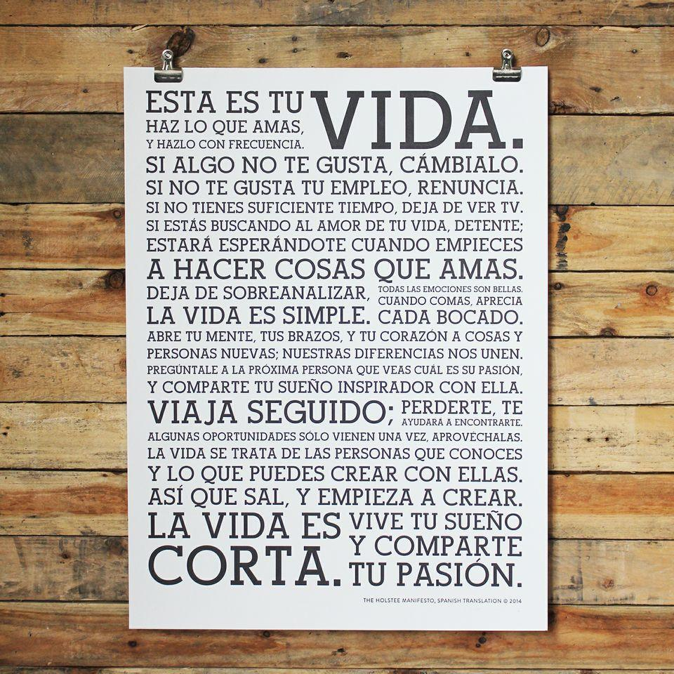 Poster In Spanish Holstee Manifesto Spanish Poster Holstee