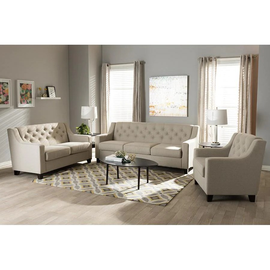 Sofa Sets In Living Room Baxton Studio Arcadia Light Beige 3 Piece Living Room Sofa Set
