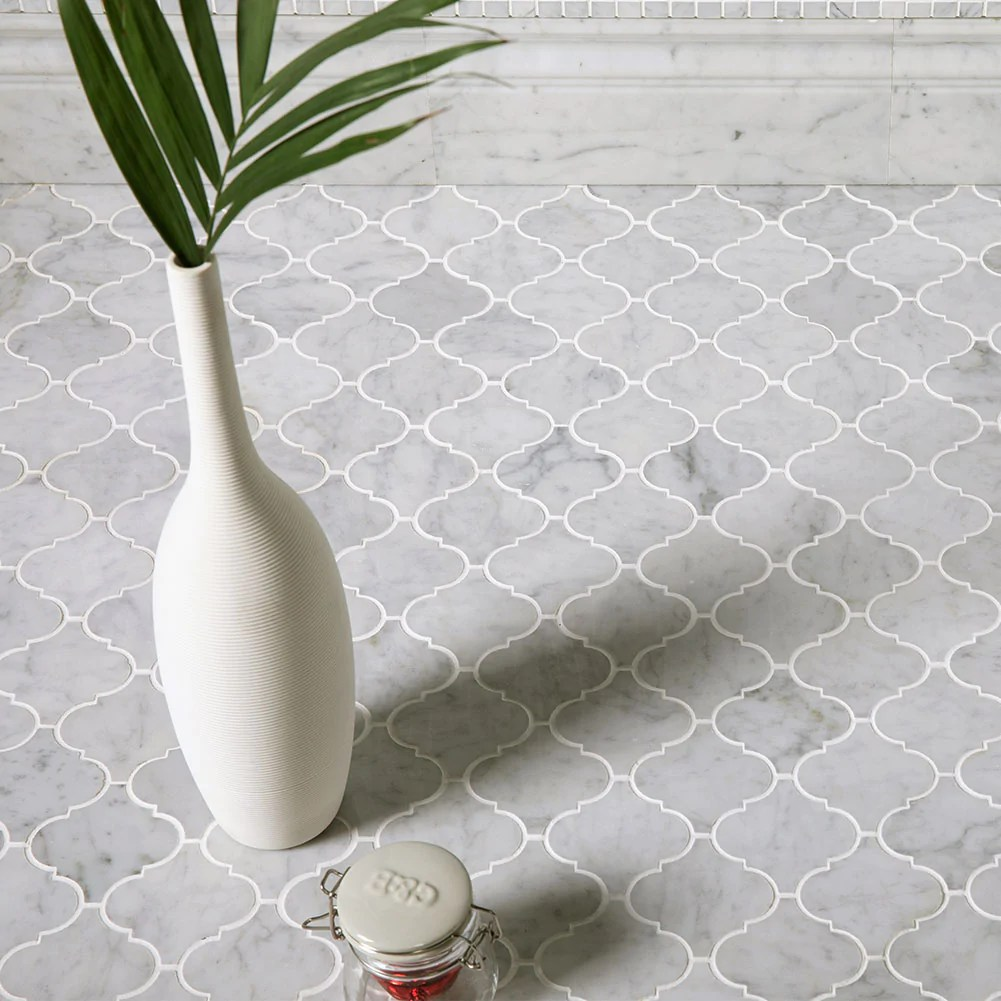 Arabesque Marble Tile 3 X3 Arabesque Bianco Carrara Mosaic Tile Polished Diflart