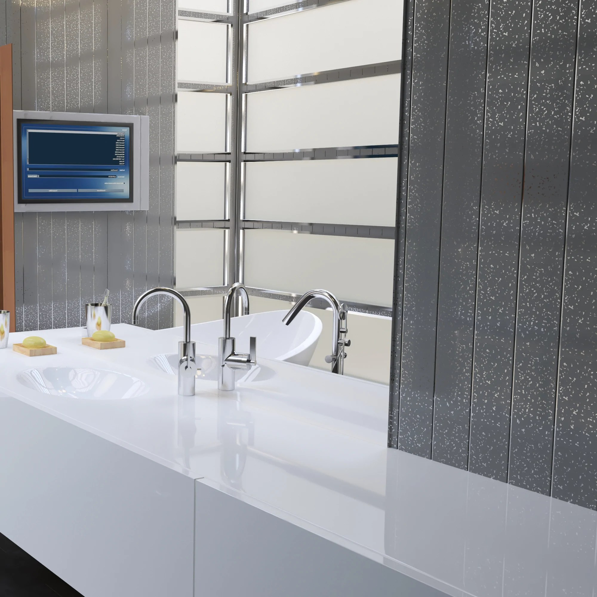Grey Sparkle Chrome Bathroom Wall Panels Pvc 5mm Thick Cladding Claddtech