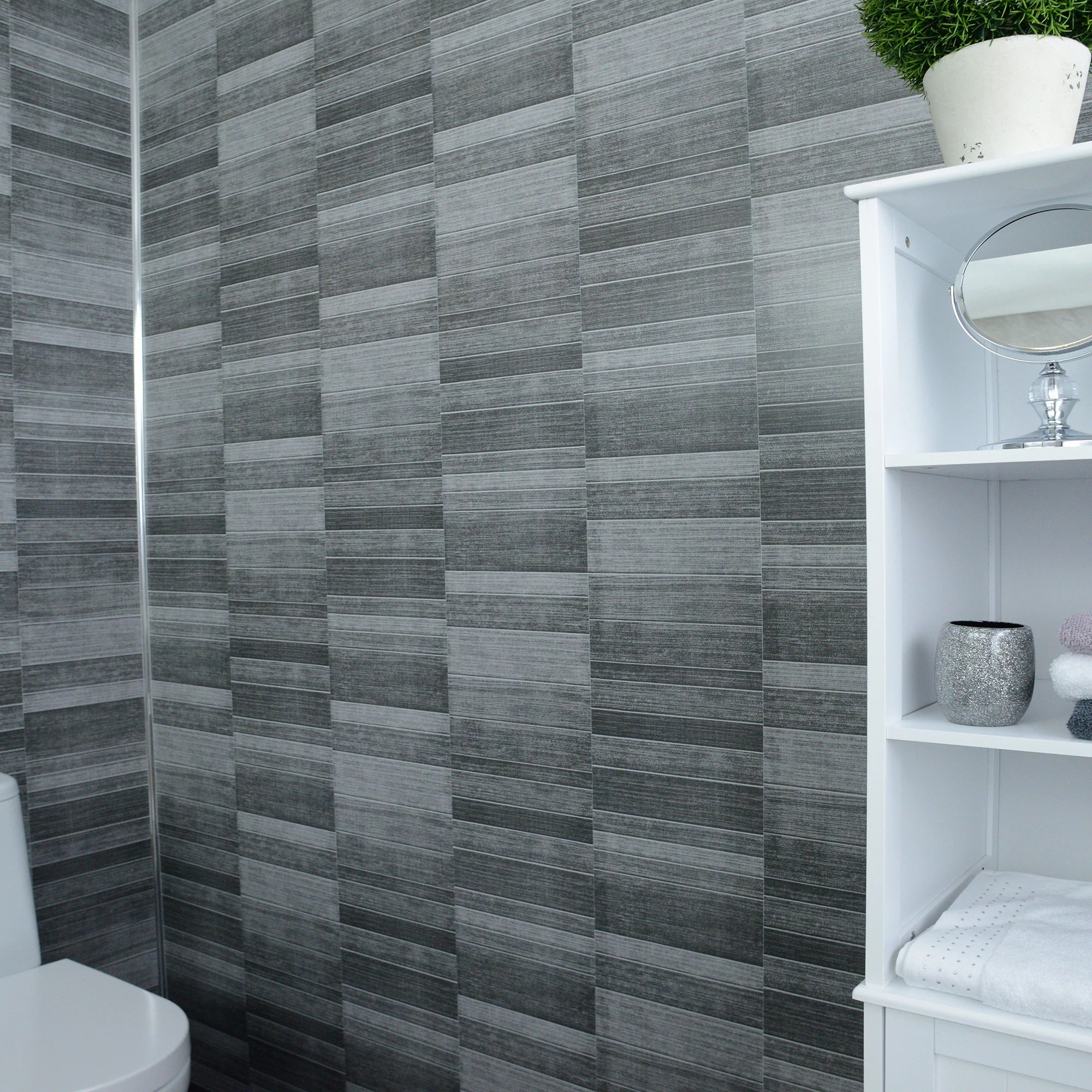 Grey Pvc Bathroom Cladding Wall Panels Large 2 4m X 1m Grey Marble 100 Waterproof By Claddtech Shower Wall Panels