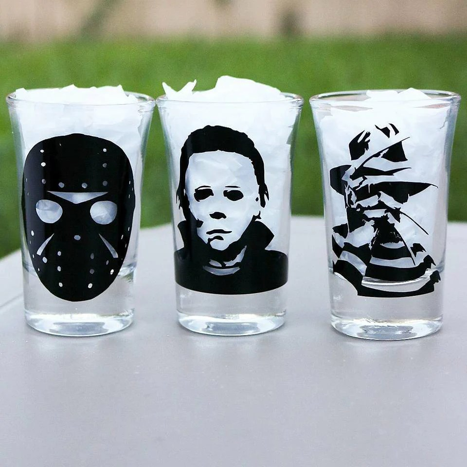 Whiskey Glasses Myer Horror Shot Glasses Set Freddy Kruger Jason Micheal Myers Horror Lover Horror Movie