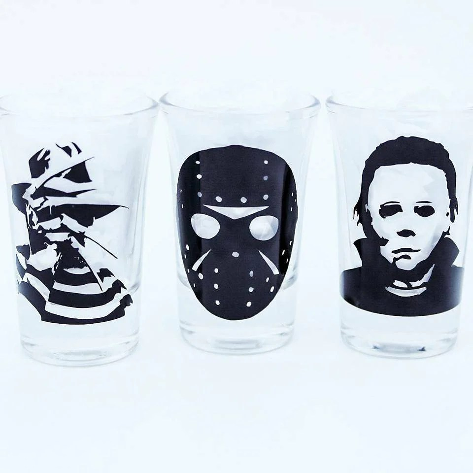 Whiskey Glasses Myer Horror Shot Glasses Set Freddy Kruger Jason Micheal Myers