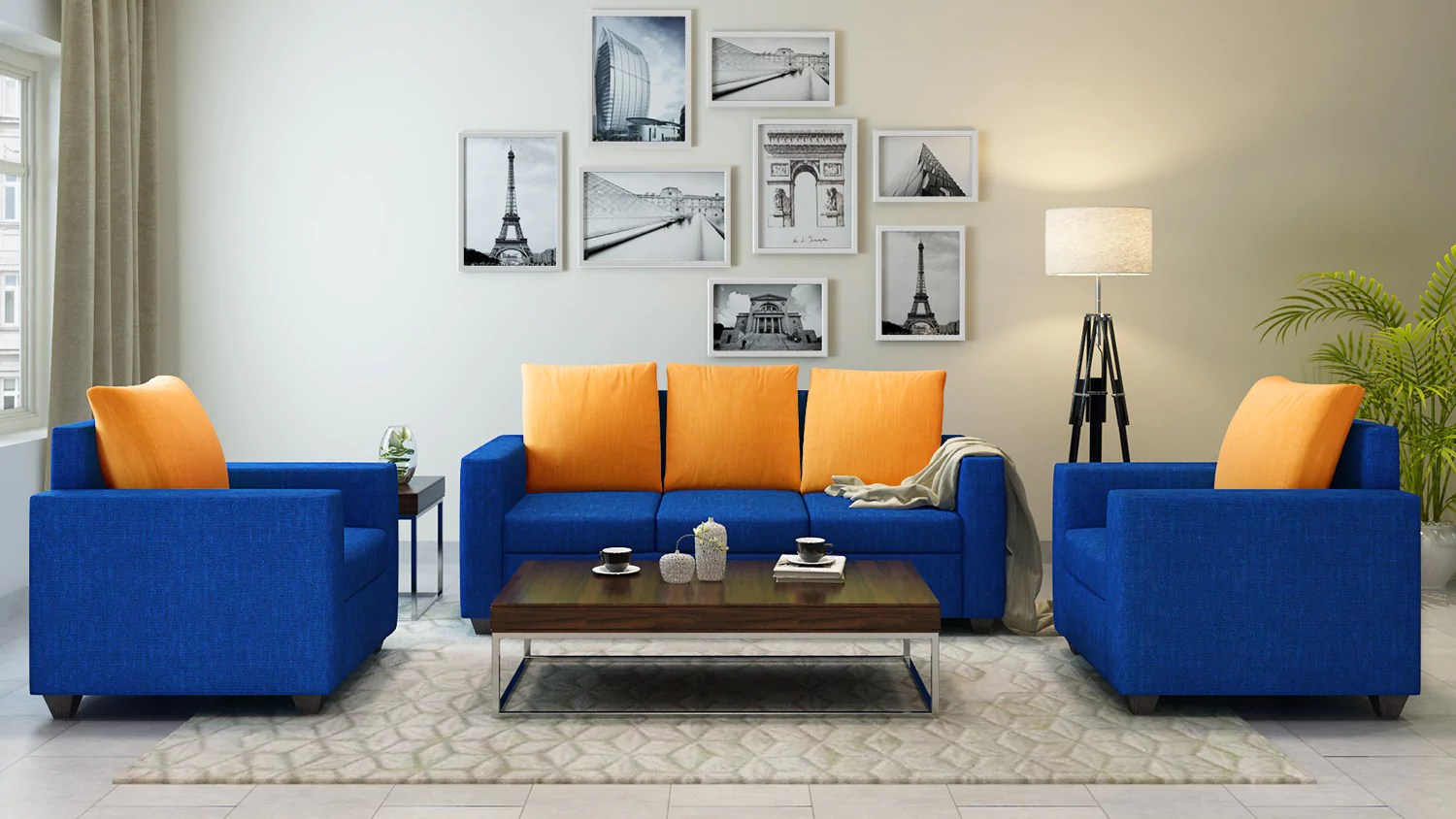 Yellow Sofa Online India Athena Blue Sofa 3 1 1 Seater