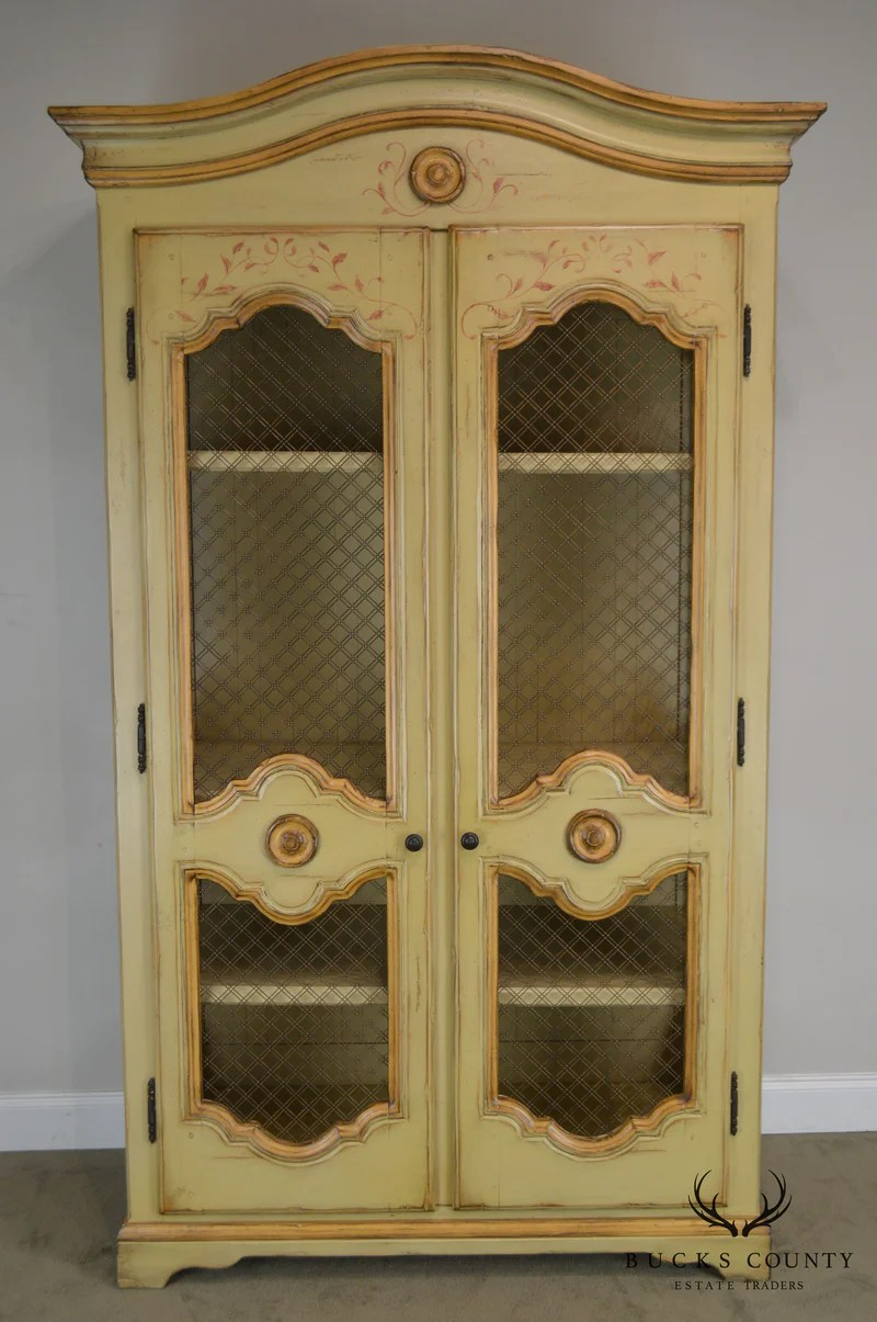 Woodland Furniture French Country Style Large Hand Painted Armoire Bucks County Estate Traders