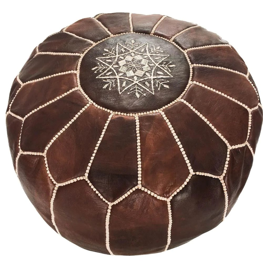 Moroccan Leather Pouf Design Sit Down Pinterest Leather Embroidered Leather Pouf Dark Brown