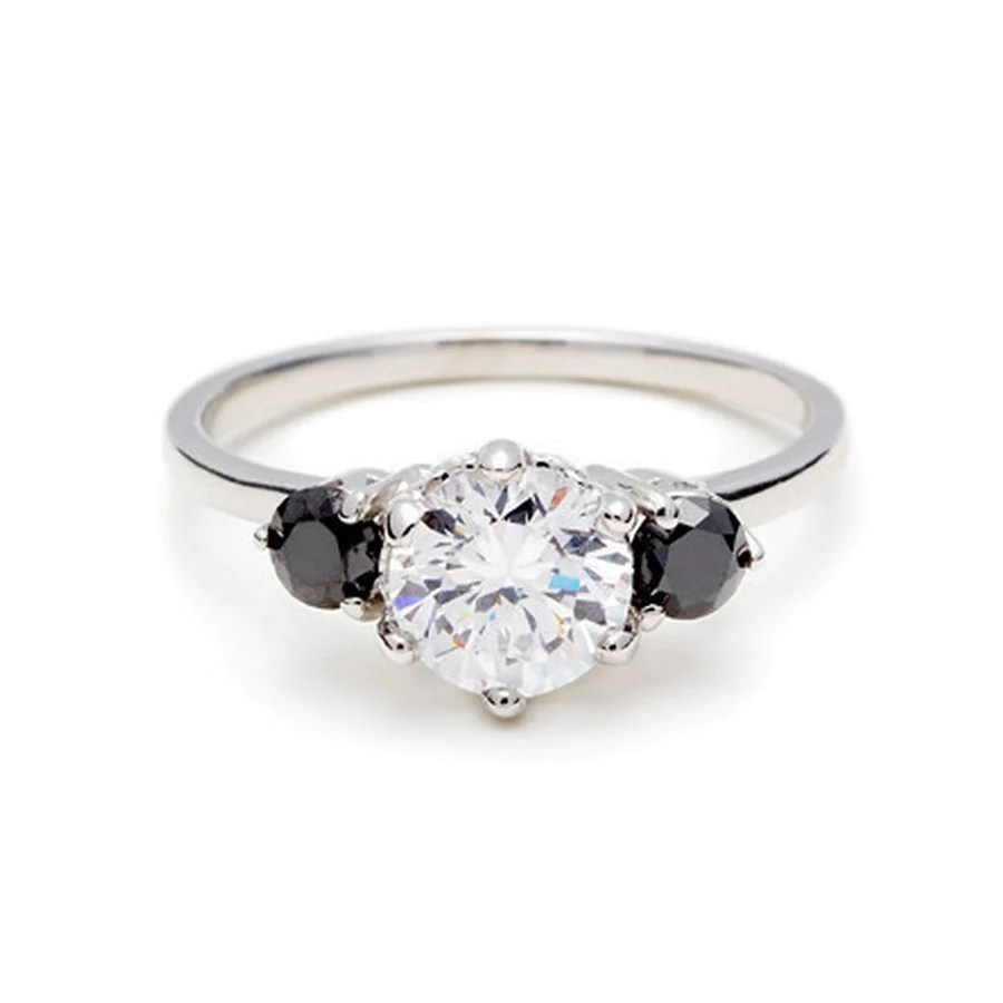 Black Diamond Hazeline Three Stone Ring White Gold White Diamond