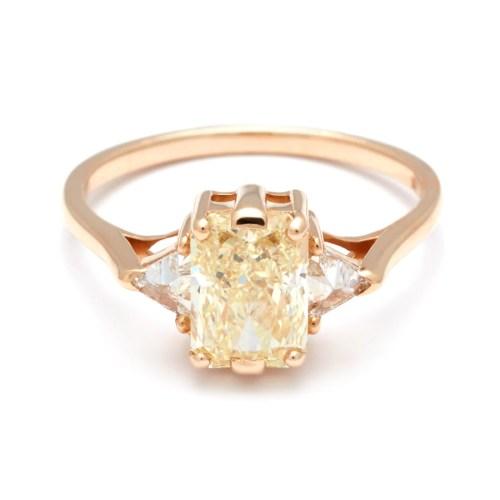 Stunning Three Stone Yellow Diamond Engagement Ring Yellow G Anna Sheffield Vintage Anna Sheffield Jewelry Three Stone Yellow Diamond Engagement Ring Yellow G Anna