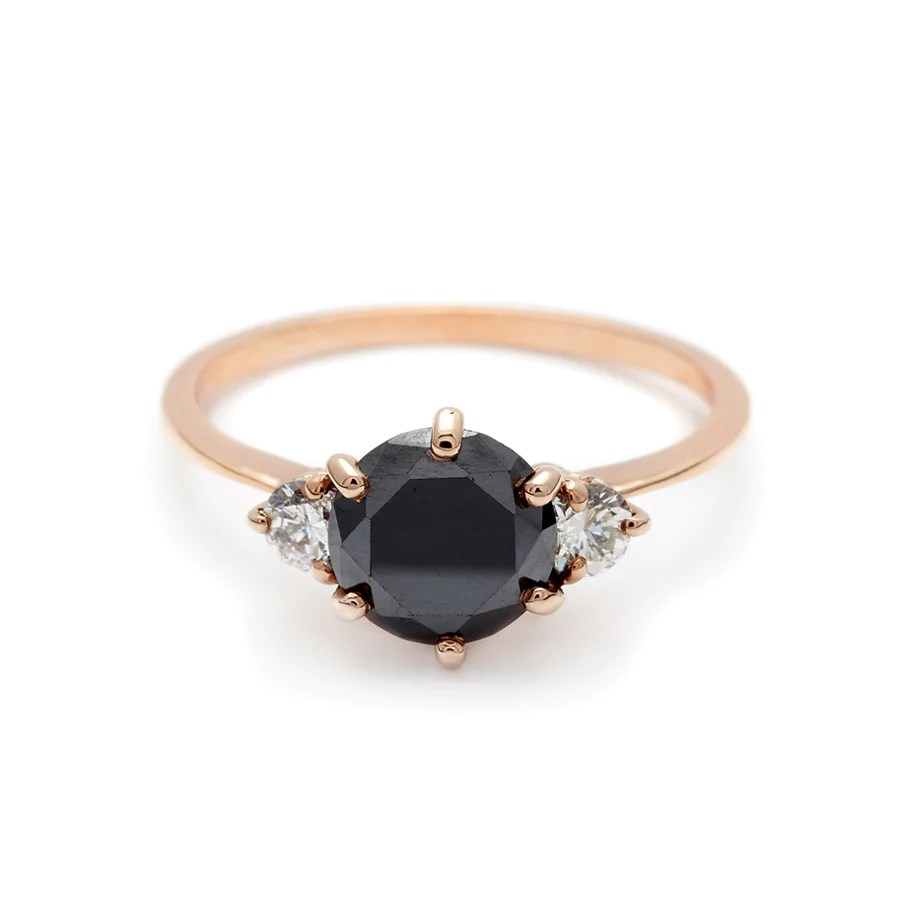 Black Diamond Hazeline Three Stone Ring Rose Gold Black Diamond 1 00ct