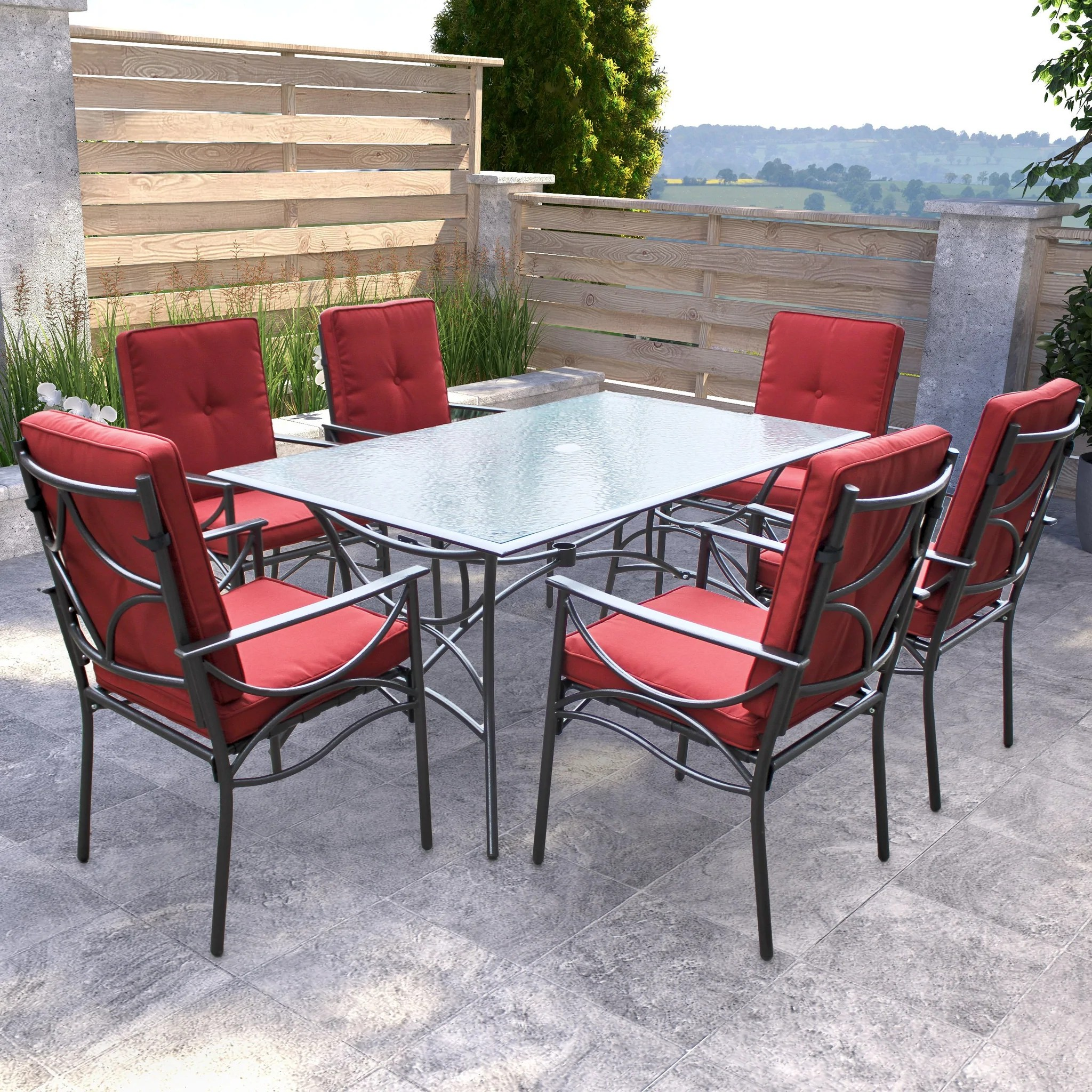 7pc Charcoal Black And Red Patio Dining Set Clearance Corliving Furniture Us - Garden Furniture Dining Set Clearance