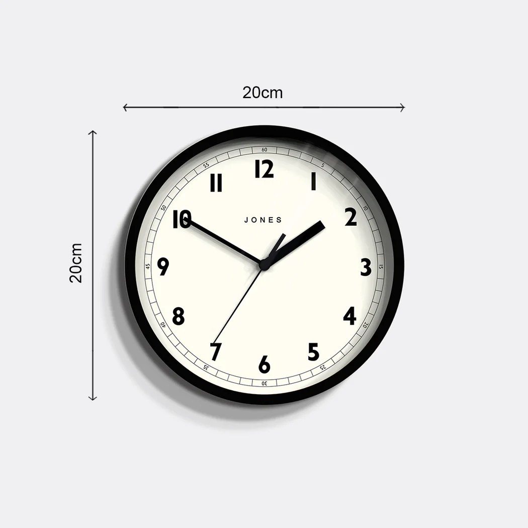 Black Modern Wall Clock Small Black Wall Clock Jones Clocks Spin 628