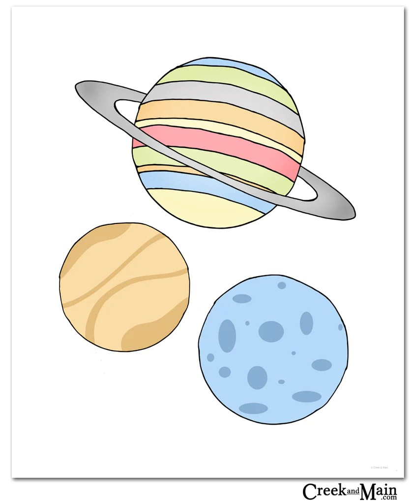 Planets Wall Art Space Wall Art Nursery Decor Kids Space Bedroom Prints Outer