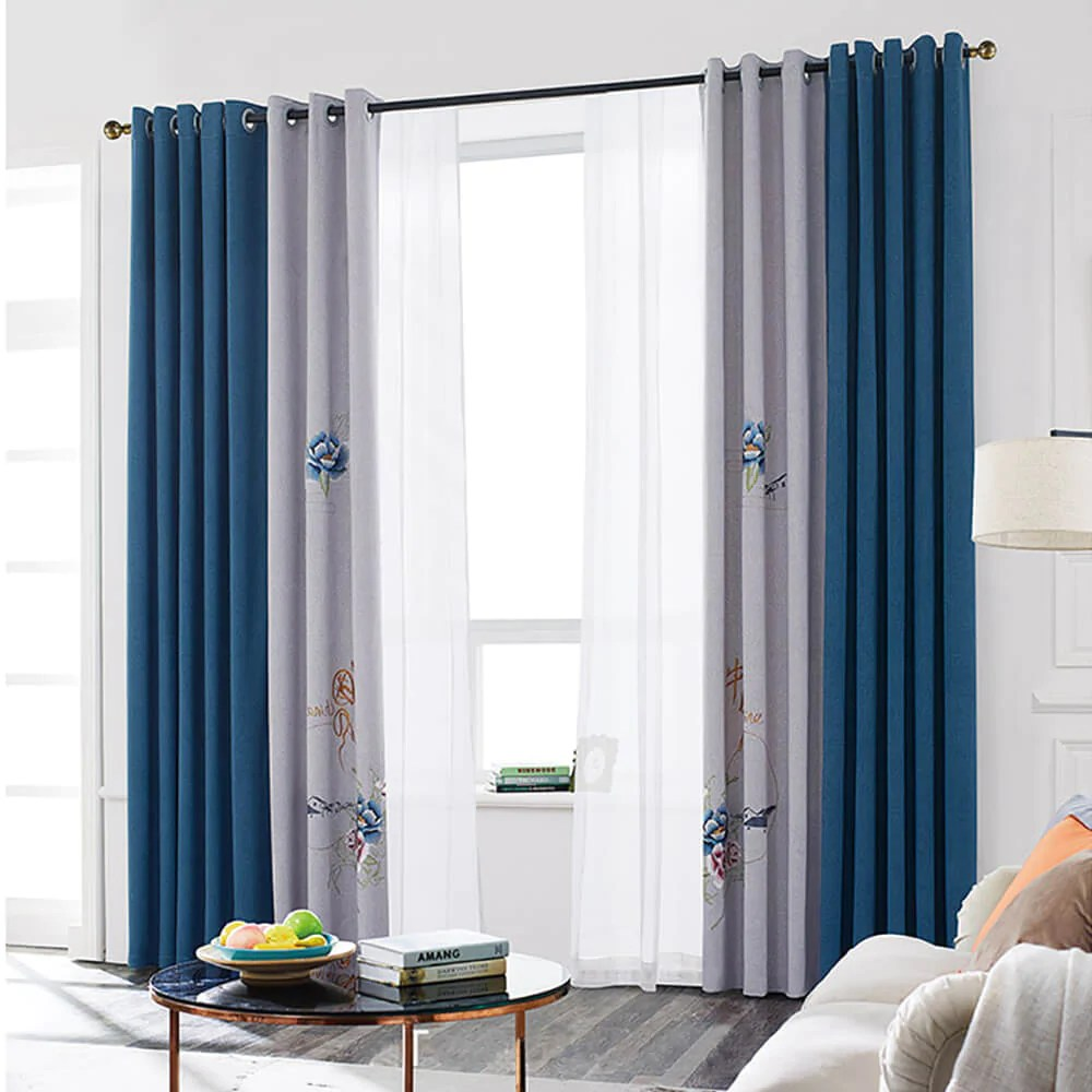 China Blue Curtains Window Curtains And Drapes For Sale Curtain For Door Draperies