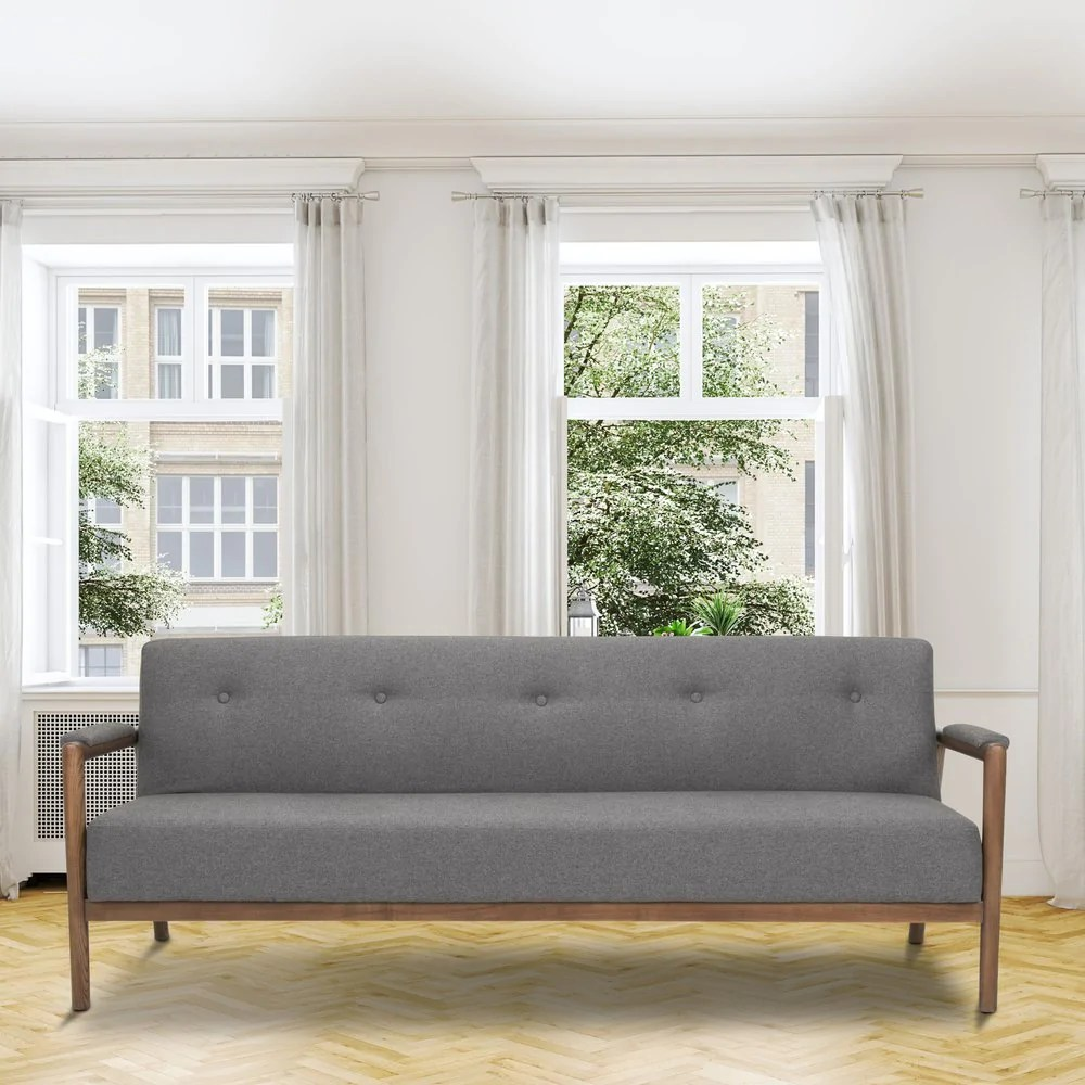 Sofa 60s Mr Rigby 60s Style Modern Three Seater Sofa Bed In Grey