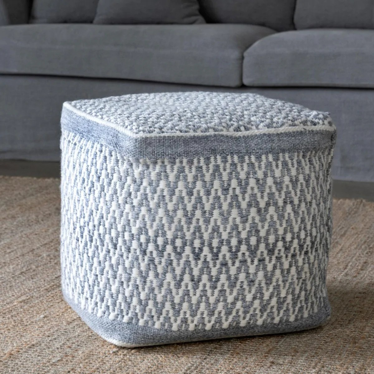 Indoor Outdoor Thompson Pouf Iron Accents