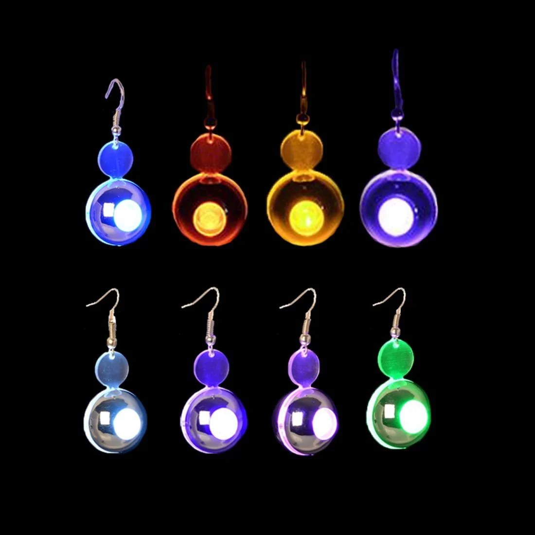Led Earrings Dazzling Toys New Glowing Big Round Shaped Led Earrings 4 Pairs 4 Colors