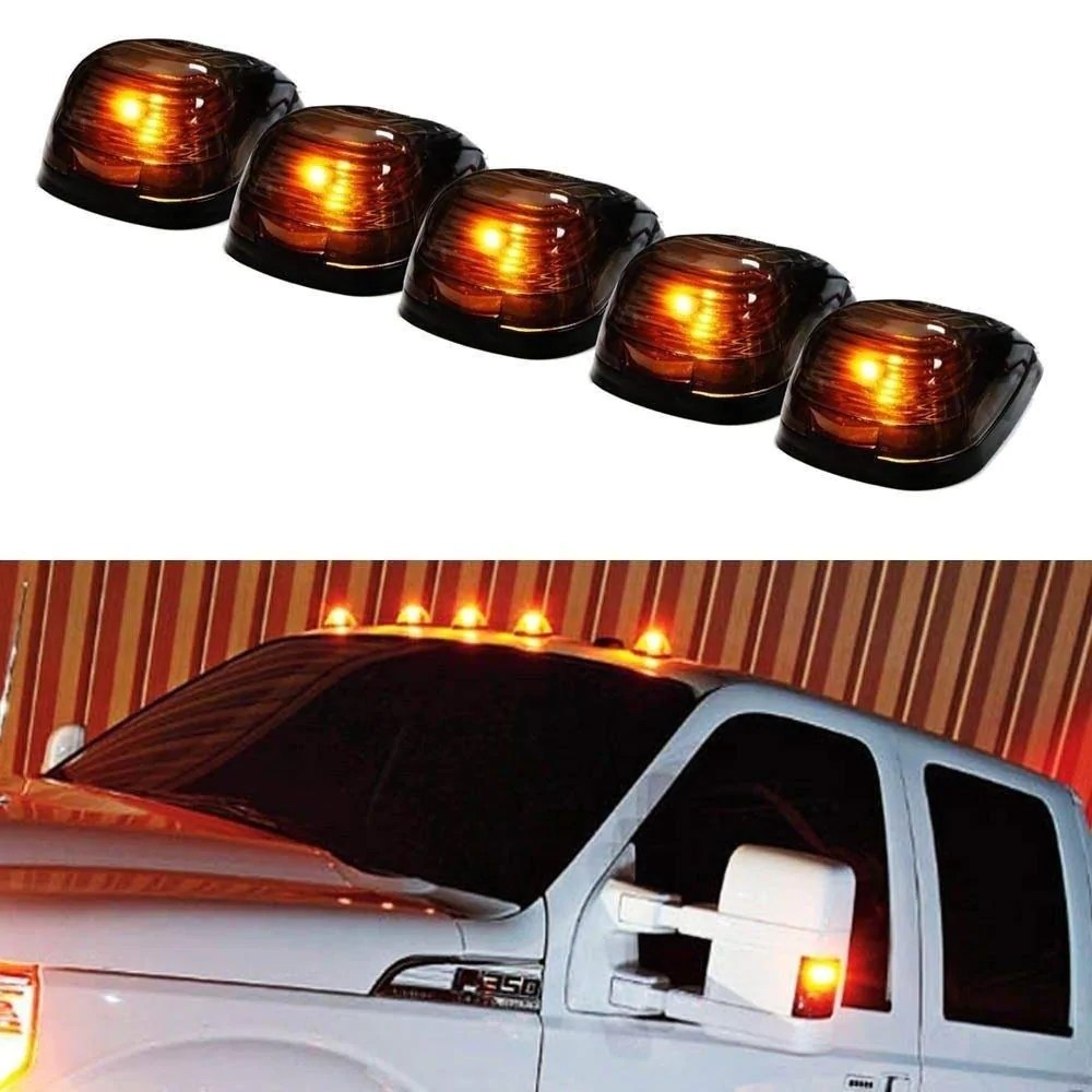 Led Lights For Trucks 5pc Black Cab Smoked Lens Amber Or White Led Rooftop Marker Lamps For Truck Suv 4x4 5 Piece Roof Running Light Set Powered By 5 5050 Smd Led Lights